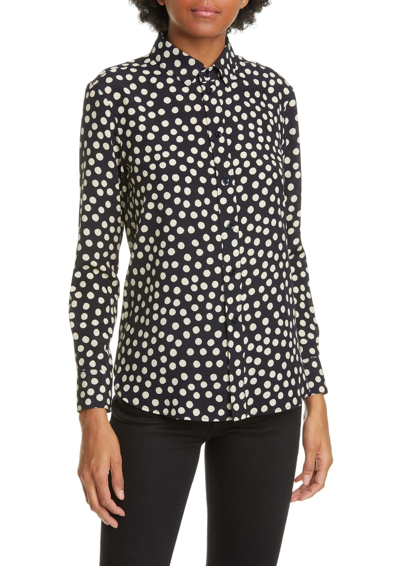 Saint Laurent Scatter Dot Silk Crêpe de Chine Shirt