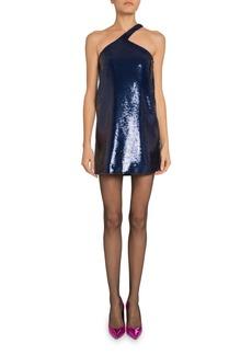 Saint Laurent Sequined Asymmetric Halter Dress