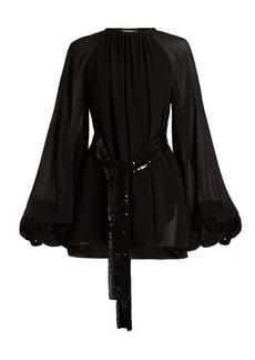 Saint Laurent Sequinned-belt silk-georgette mini dress