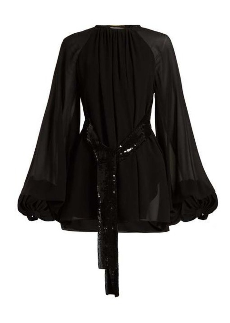 Saint Laurent Sequinned-belt silk-georgette mini dress