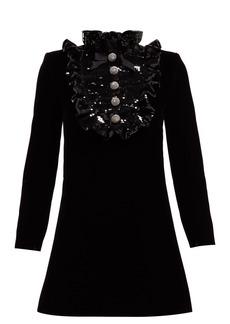 Saint Laurent Sequinned-bib velvet mini dress
