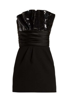 Saint Laurent Sequinned gathered mini dress
