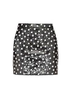 Saint Laurent Sequinned polka-dot wool mini skirt
