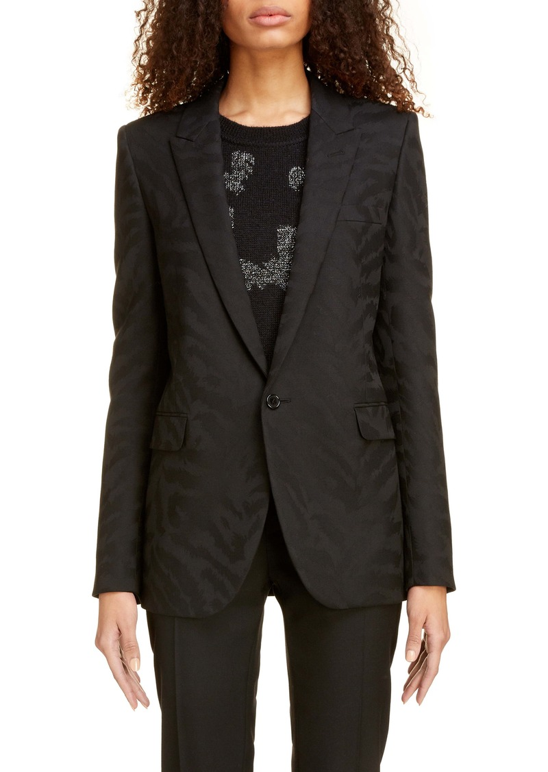 Saint Laurent Shadow Tiger Print Wool Blazer