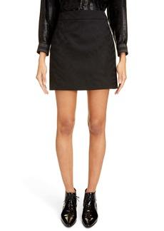 Saint Laurent Shadow Tiger Stripe Wool Miniskirt