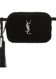 Saint Laurent Shearling Monogramme Lou Hip Belt with Pouch