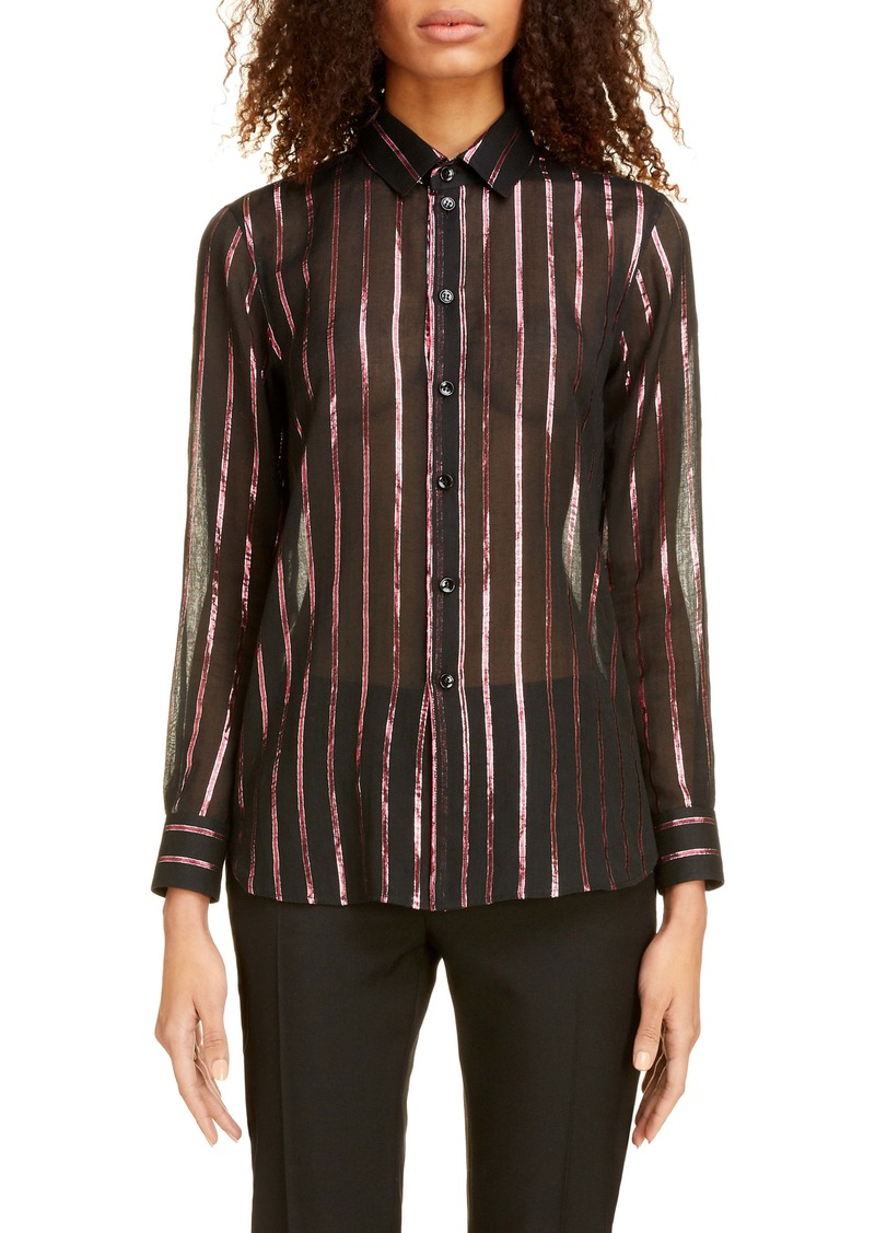 Saint Laurent Sheer Lamé Stripe Shirt