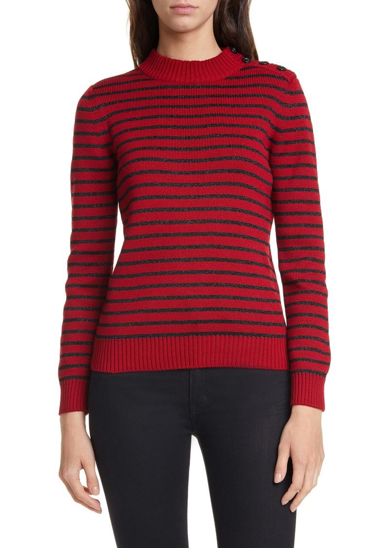 Saint Laurent Shimmer Stripe Cotton & Wool Blend Sweater