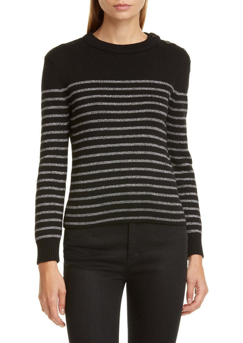 Saint Laurent Shimmer Stripe Wool Blend Sweater