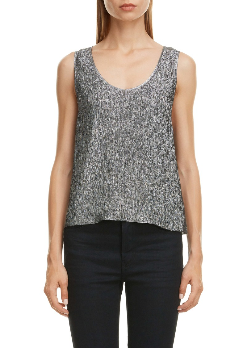 Saint Laurent Silk Blend Lamé Tank