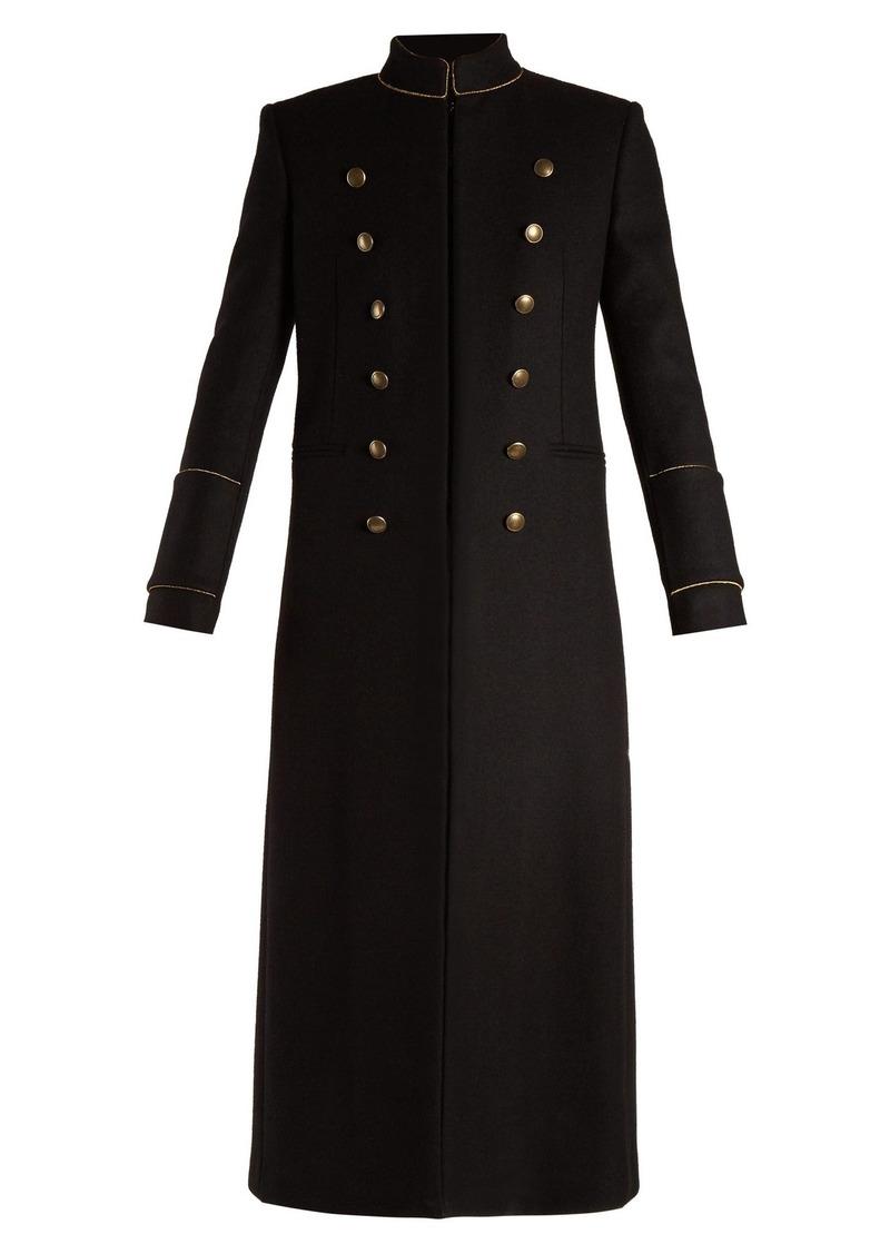 eddc720e7c1 Saint Laurent Saint Laurent Single-breasted felt officer coat ...