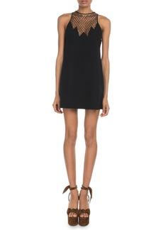 Saint Laurent Sleeveless Logo-Mesh Yoke Halter Mini Dress