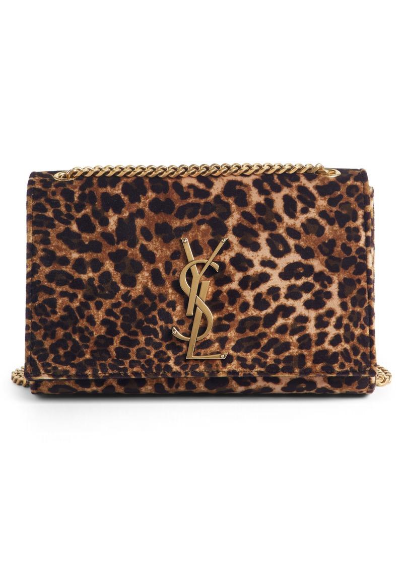 8dc4731d Small Kate Leopard Print Velour Chain Crossbody Bag