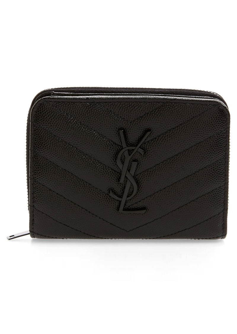 Saint Laurent Small Monogram Grained Leather Wallet
