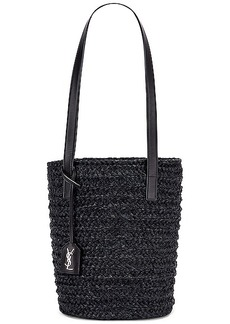 Saint Laurent Small Rafia Panier Bucket Bag