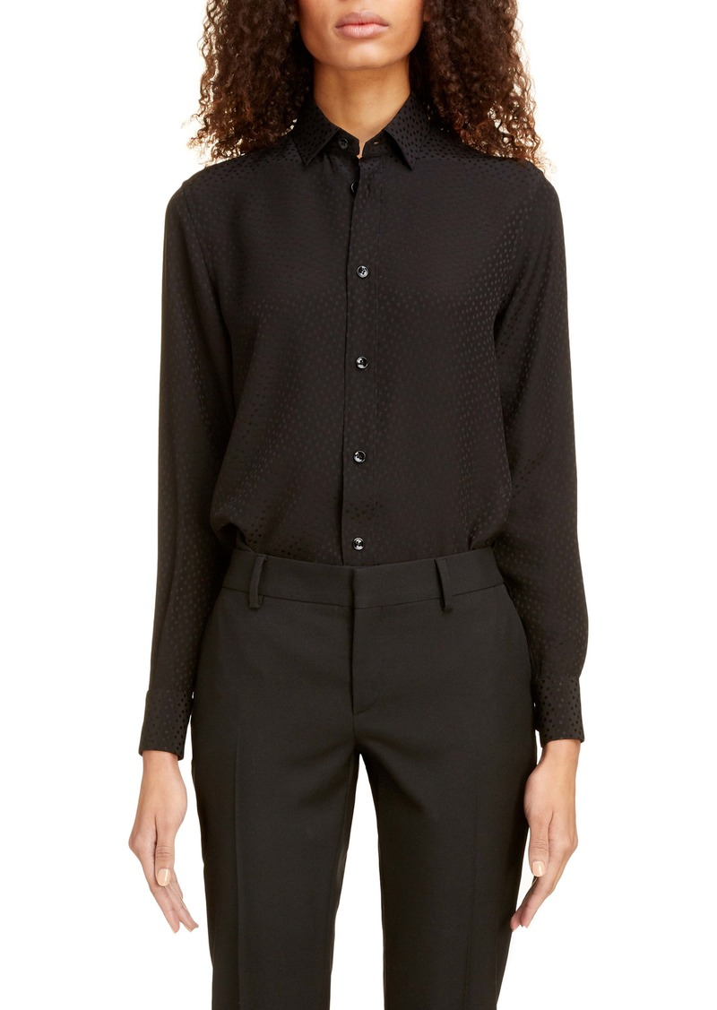 Saint Laurent Small Tonal Dot Silk Shirt