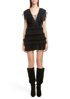 Saint Laurent Smocked Silk Ruffle Minidress