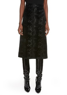 Saint Laurent Snake Print Midi Skirt