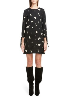 Saint Laurent Spotted Tie Cuff Shift Dress