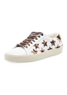Saint Laurent Star Leopard-Print Leather Sneakers
