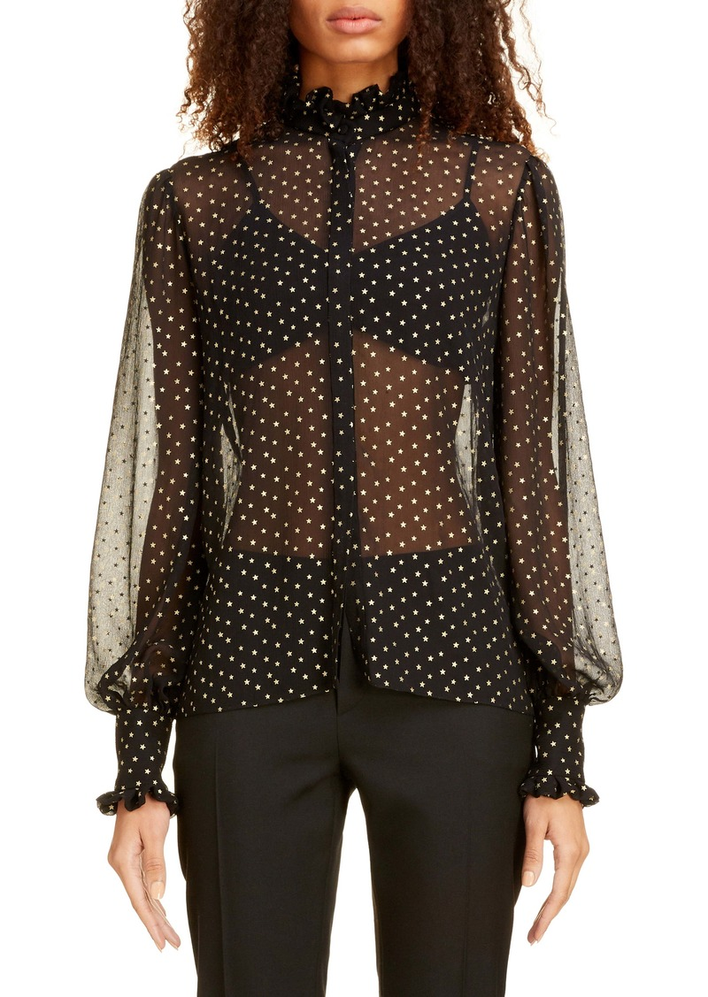 Saint Laurent Star Print Silk Chiffon Blouse