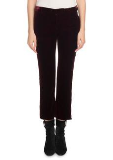 Saint Laurent Straight-Leg Cropped Velvet Trousers