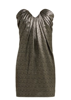 Saint Laurent Strapless metallic jacquard mini dress