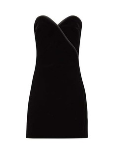 Saint Laurent Strapless velvet mini dress