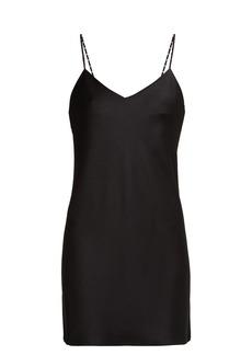 Saint Laurent Strappy satin-crepe mini dress