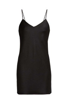 Saint Laurent Strappy satin-crepe mini dress
