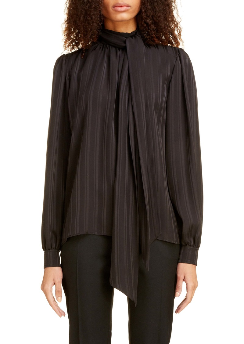 Saint Laurent Stripe Tie Neck Blouse
