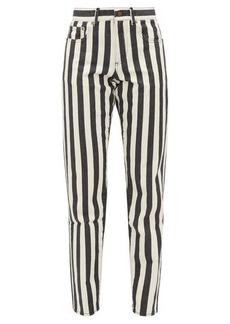 Saint Laurent Striped mid-rise slim-leg jeans