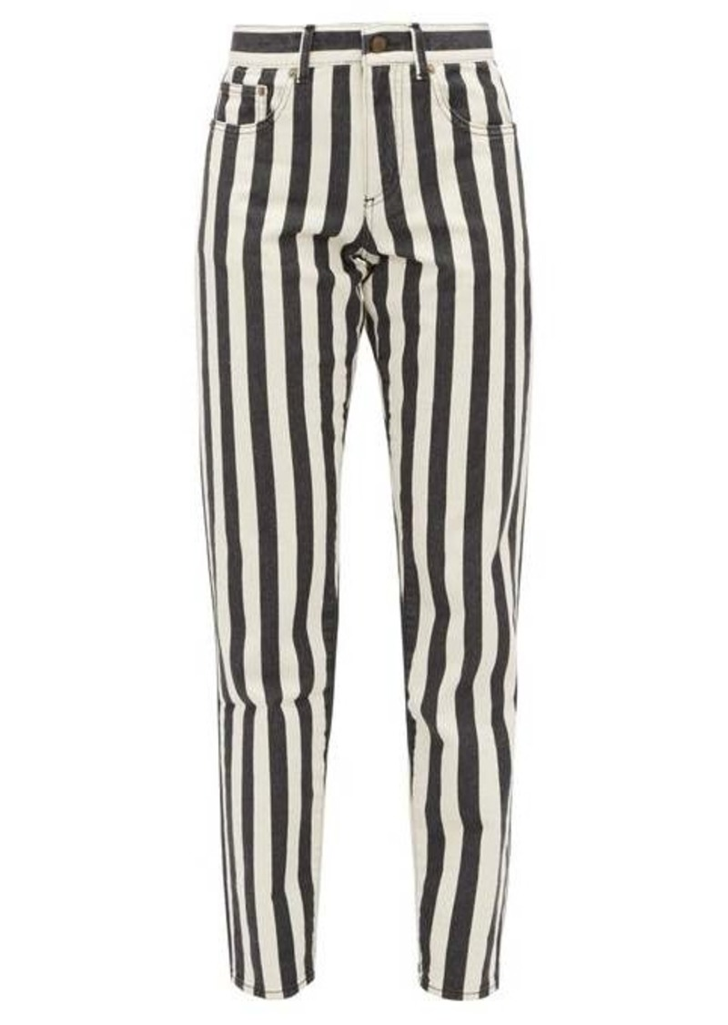 Saint Laurent Striped mid-rise slim-leg jeans