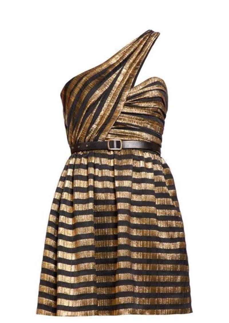 Saint Laurent One-shoulder striped lamé silk-blend dress