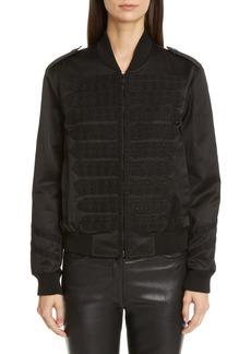 Saint Laurent Stud Embellished Satin Jacket