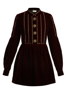 Saint Laurent Studded and pleated velvet mini dress