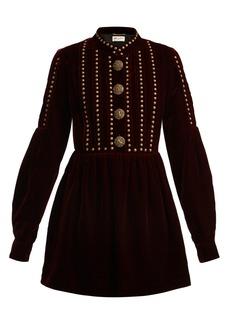 Saint Laurent Studded and pleated velvet mini dress