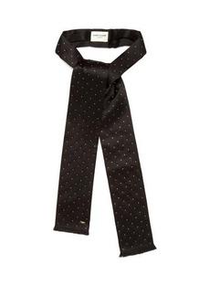 Saint Laurent Studded frayed-edge silk scarf