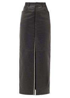 Saint Laurent Studded slit-front leather skirt