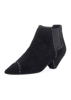 Saint Laurent Studded Suede Ankle Booties