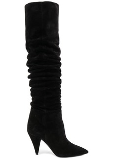 Saint Laurent Suede Era Heeled Thigh High Boots