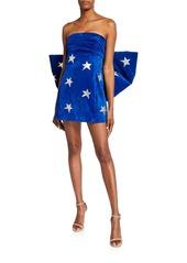 Saint Laurent Suede Golden-Star Bow-Back Dress