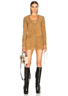 Saint Laurent Suede Lace Up Mini Dress