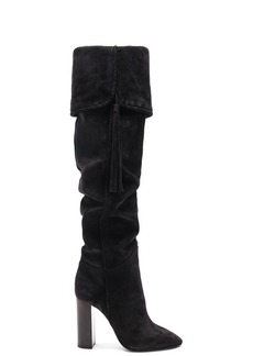 Saint Laurent Suede Meurice Tassel Slouchy Boots