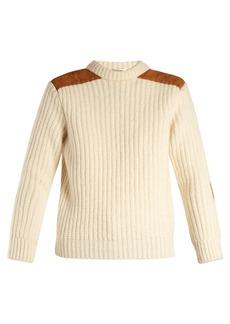 Saint Laurent Suede-trim ribbed wool sweater