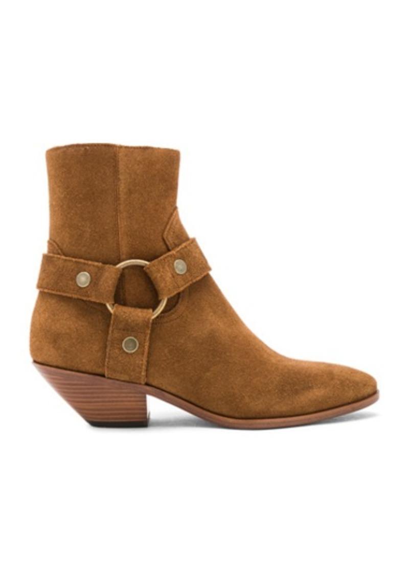 Saint Laurent Suede West Strap Ankle Boots
