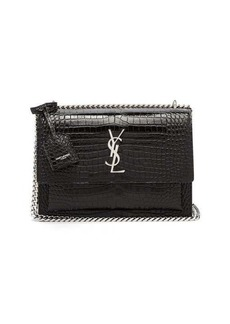 Saint Laurent Sunset medium croc-effect leather cross-body bag