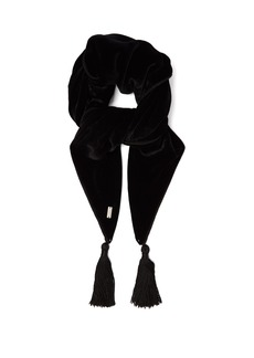 Saint Laurent Tassel-trimmed velvet bandana scarf