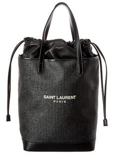 Saint Laurent Teddy Raffia Leather Shopping Tote