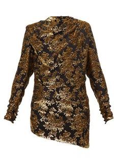 Saint Laurent Tie-back floral tinsel-devoré mini dress